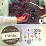 Rainbow rice sensory bin seek and find screen-free activity