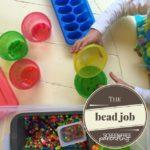 screen-free activities colorful bead sorting sensory bin