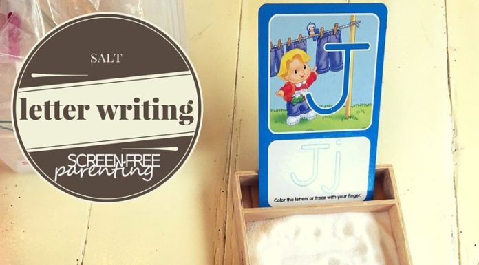 salt letter writing tracing sensory bin