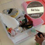 screen-free activity self correcting lid bin