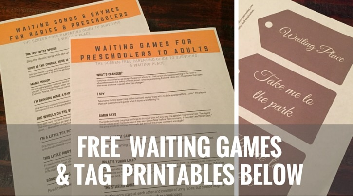 Download a free waiting place printable filled with over a dozen games and songs to guide your waiting time.